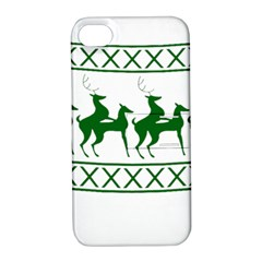 Humping Reindeer Ugly Christmas Apple Iphone 4/4s Hardshell Case With Stand by Onesevenart