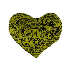 Panic! At The Disco Lyric Quotes Standard 16  Premium Flano Heart Shape Cushions by Onesevenart