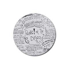 Panic! At The Disco Lyrics Rubber Coaster (round)  by Onesevenart