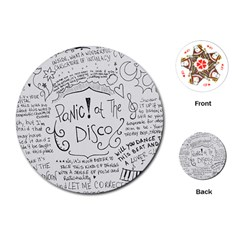 Panic! At The Disco Lyrics Playing Cards (round)  by Onesevenart
