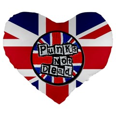 Punk Not Dead Music Rock Uk United Kingdom Flag Large 19  Premium Flano Heart Shape Cushions by Onesevenart