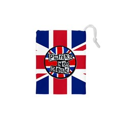 Punk Not Dead Music Rock Uk United Kingdom Flag Drawstring Pouches (XS)  by Onesevenart
