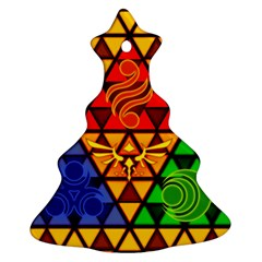 The Triforce Stained Glass Christmas Tree Ornament (2 Sides) by Onesevenart