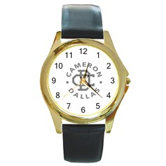 Cameron Dallas Round Gold Metal Watch by Onesevenart
