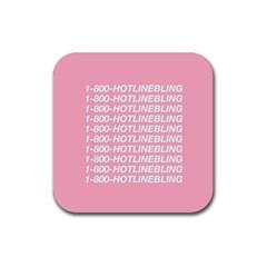 1 800 Hotline Bling Rubber Square Coaster (4 Pack)  by Onesevenart