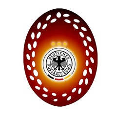 Deutschland Logos Football Not Soccer Germany National Team Nationalmannschaft Oval Filigree Ornament (2 Side)  by Onesevenart