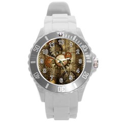 Wonderful Steampunk Design With Clocks And Gears Round Plastic Sport Watch (l) by FantasyWorld7
