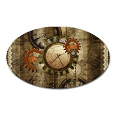 Wonderful Steampunk Design With Clocks And Gears Oval Magnet by FantasyWorld7