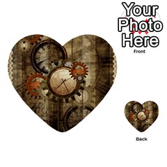 Wonderful Steampunk Design With Clocks And Gears Multi Purpose Cards (heart)  by FantasyWorld7