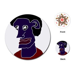 Man Portrait Caricature Playing Cards (round)  by dflcprints