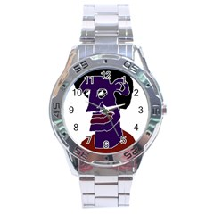 Man Portrait Caricature Stainless Steel Analogue Watch by dflcprints