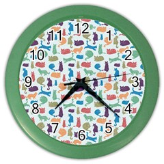 Blue Colorful Cats Silhouettes Pattern Color Wall Clocks