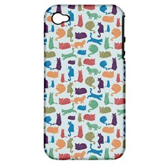 Blue Colorful Cats Silhouettes Pattern Apple Iphone 4/4s Hardshell Case (pc+silicone)