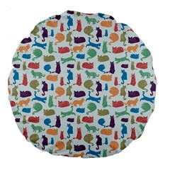 Blue Colorful Cats Silhouettes Pattern Large 18  Premium Round Cushions by Contest580383