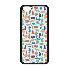 Blue Colorful Cats Silhouettes Pattern Apple Iphone 5c Seamless Case (black) by Contest580383