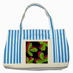 Decorative Leafs  Striped Blue Tote Bag by Valentinaart