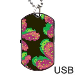 Colorful Leafs Dog Tag Usb Flash (one Side) by Valentinaart