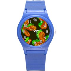 Autumn Leafs Round Plastic Sport Watch (s) by Valentinaart