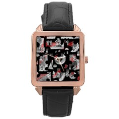 Red Shadows Rose Gold Leather Watch  by Valentinaart