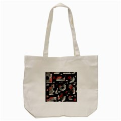 Red Shadows Tote Bag (cream) by Valentinaart