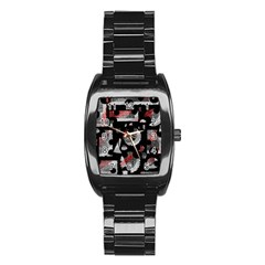 Red Shadows Stainless Steel Barrel Watch by Valentinaart