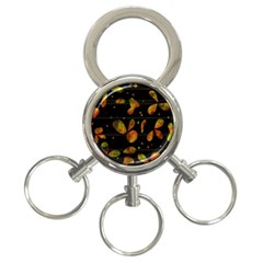 Floral Abstraction 3 Ring Key Chains by Valentinaart