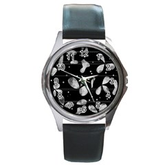 Black And White Floral Abstraction Round Metal Watch by Valentinaart