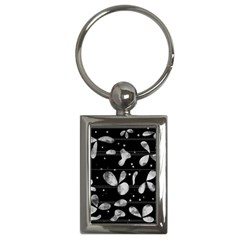 Black And White Floral Abstraction Key Chains (rectangle)  by Valentinaart