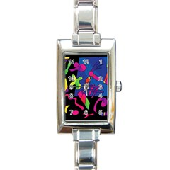 Colorful Shapes Rectangle Italian Charm Watch by Valentinaart