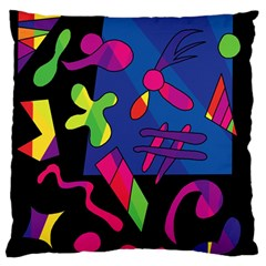 Colorful Shapes Large Flano Cushion Case (one Side) by Valentinaart