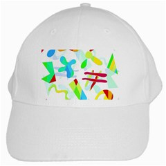 Playful Shapes White Cap by Valentinaart