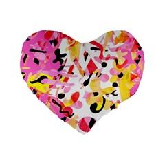Pink Pother Standard 16  Premium Heart Shape Cushions by Valentinaart