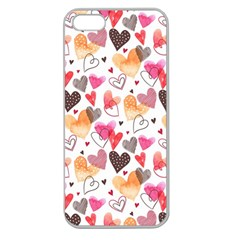Colorful Cute Hearts Pattern Apple Seamless Iphone 5 Case (clear) by TastefulDesigns