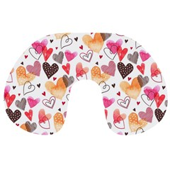 Colorful Cute Hearts Pattern Travel Neck Pillows by TastefulDesigns