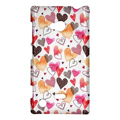 Colorful Cute Hearts Pattern Nokia Lumia 720 by TastefulDesigns