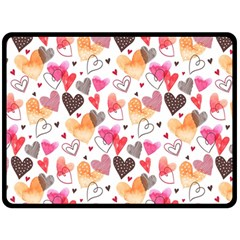 Colorful Cute Hearts Pattern Double Sided Fleece Blanket (large)  by TastefulDesigns
