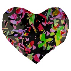 Playful Pother Large 19  Premium Flano Heart Shape Cushions by Valentinaart