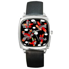 Playful Airplanes  Square Metal Watch by Valentinaart