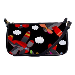 Playful Airplanes  Shoulder Clutch Bags by Valentinaart