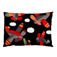 Playful Airplanes  Pillow Case (two Sides) by Valentinaart