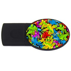 Colorful Airplanes Usb Flash Drive Oval (4 Gb)  by Valentinaart