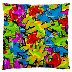 Colorful Airplanes Large Flano Cushion Case (two Sides) by Valentinaart