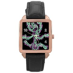 Playful Dots Rose Gold Leather Watch  by Valentinaart