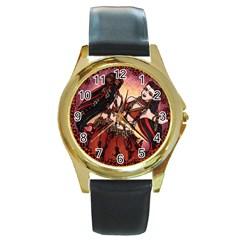 Gemini Tribal Twins Round Gold Metal Watch