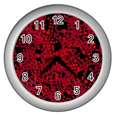 Red Emotion Wall Clocks (silver)  by Valentinaart