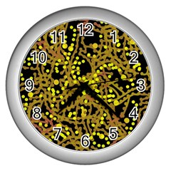 Yellow Emotions Wall Clocks (silver)  by Valentinaart