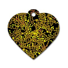 Yellow Emotions Dog Tag Heart (one Side) by Valentinaart