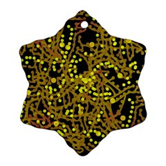 Yellow Emotions Snowflake Ornament (2 Side) by Valentinaart