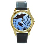 SWIMMING DOLPHINS ROUND GOLD METAL WATCH