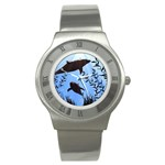 SWIMMING DOLPHINS STAINLESS STEEL WATCH